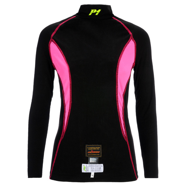 le magasin des pilotes : T-SHIRT P1 SLIM FIT NOIR/FUSCHIA FIA